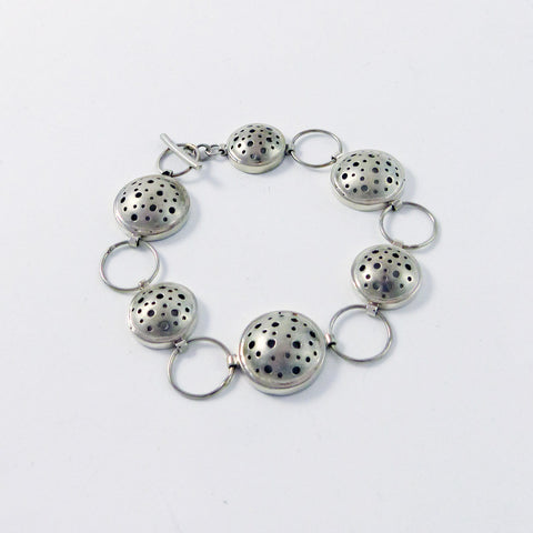 Sterling Silver Bracelet, Domed, Drilled Holes Series (B4)