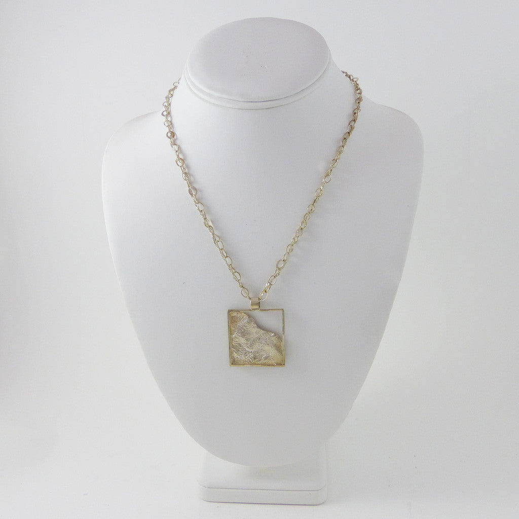 Sterling Silver Pendant, Reticulated Square, Double Chain (N3)
