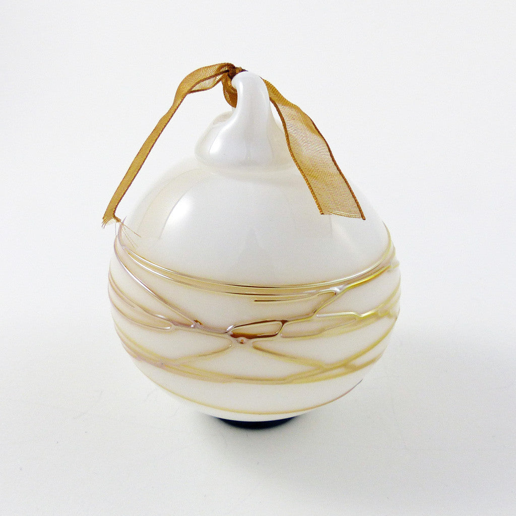 Ornament: Snowball, White w Gold Wrap
