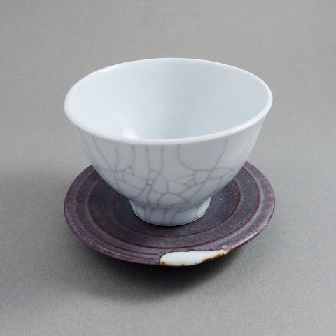 Korean-style Cup & Saucer, White Crackle