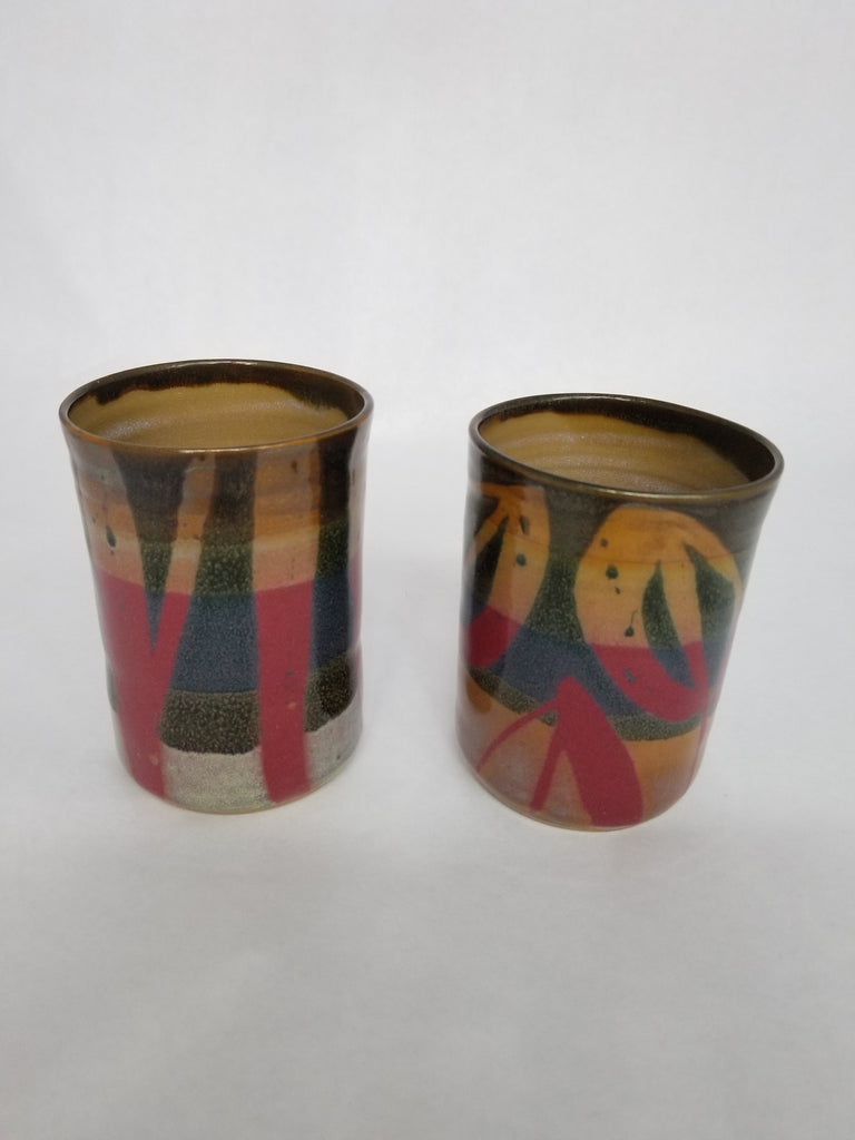 Large Cup - Red and Brown