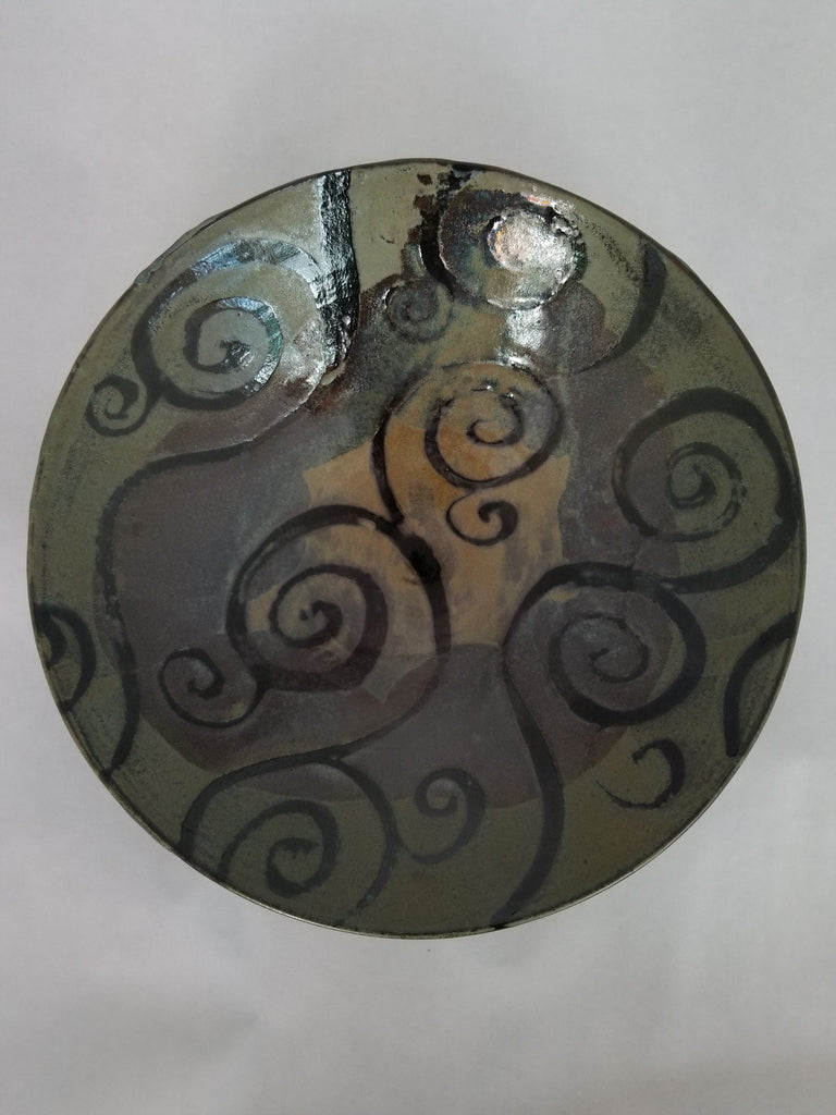 Bowl-Large, Blue & Brown Spiral