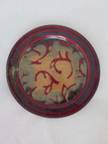Plate - Medium, Red Decoration