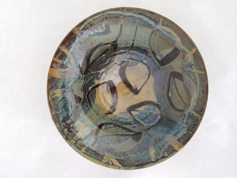 Bowl - Medium Blue-Brown Decoration
