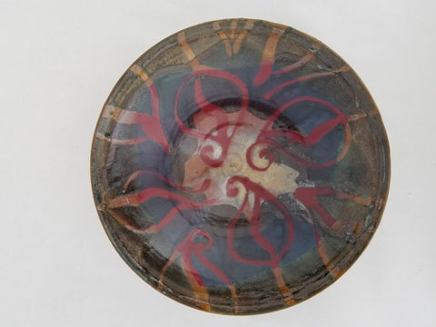 Bowl - Large, Red Leaf Decoration