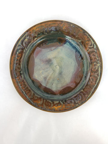 Plate - Medium, Rust-orange & Blue