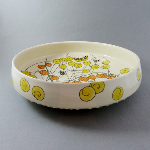 Large Vertical Sided Bowl (Orange Lanterns)