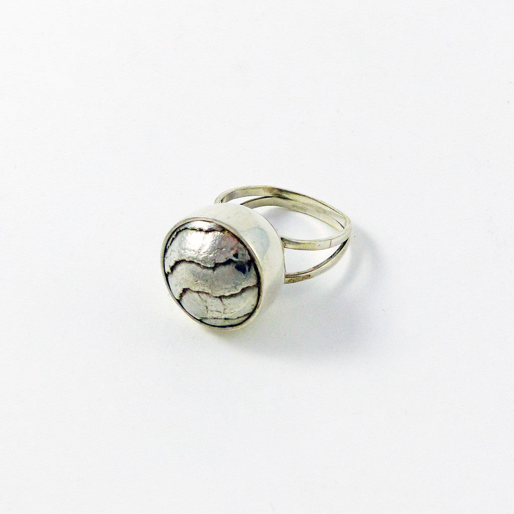 Sterling Silver Ring, Cuttlefish Cast Cocktail (R1; Sz 8.5)