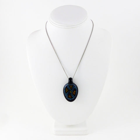 Oval Pendant, Dark Blue w Lt Blue Pattern