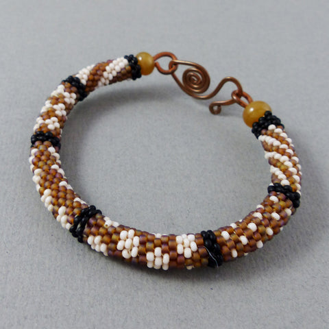 Bangle, Circular Brick Stitch (Ivory/Brown/Black)