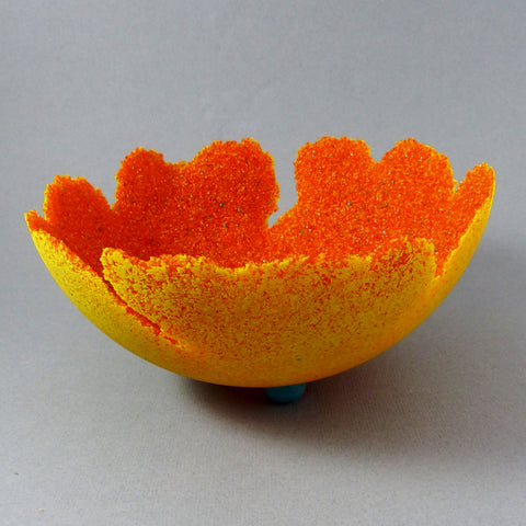 Hemisphere Bowl, Pate de Verre (Red-Orange/Yellow)