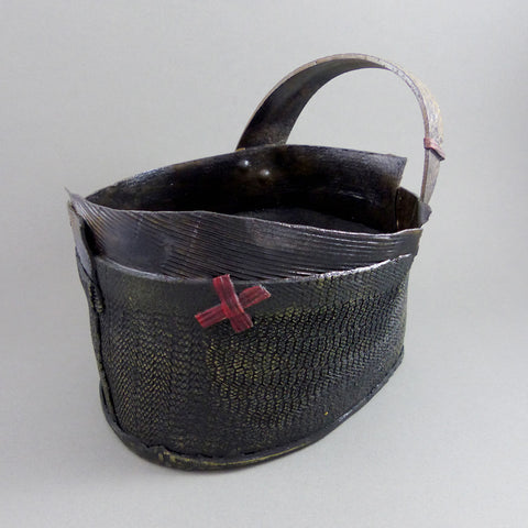 Sculptural Basket (red X with handle)