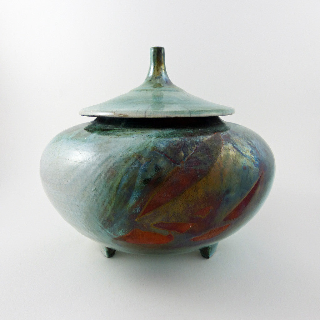 Urn with Pointed Lid, Turquoise Patina