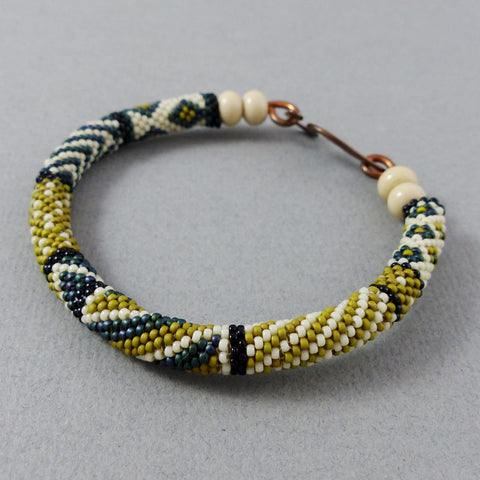 Bangle, Circular Brick Stitch (Ivory/Black/Moss/Forest)