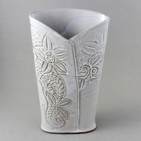 Embossed Vase, White on Gray Clay