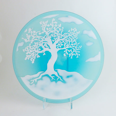 Tree Plate, Blue/White
