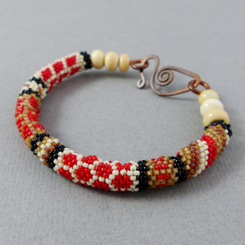 Bangle, Circular Brick Stitch (Red/Ivory/Brown/Black)