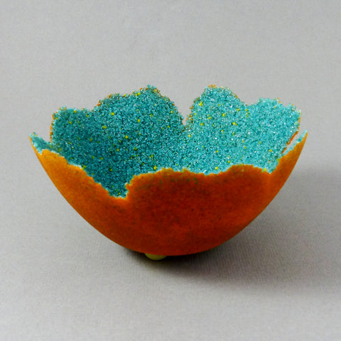 Roundish Bowl, Pate de Verre (Teal/Orange)