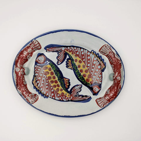 Oval Platter w/ Handles Red Fish