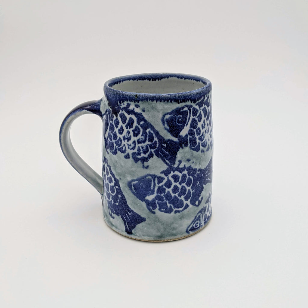 Beer Stein fish motif blue handle
