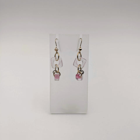 Earrings: Pink Double Slice