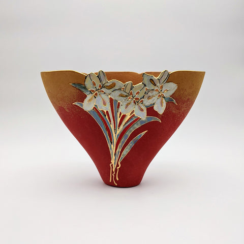 Small Triangle Vase Firebird Red