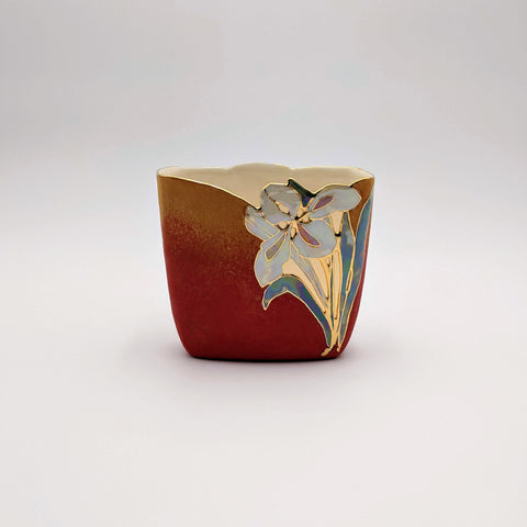 Short Square Vase Firebird Red