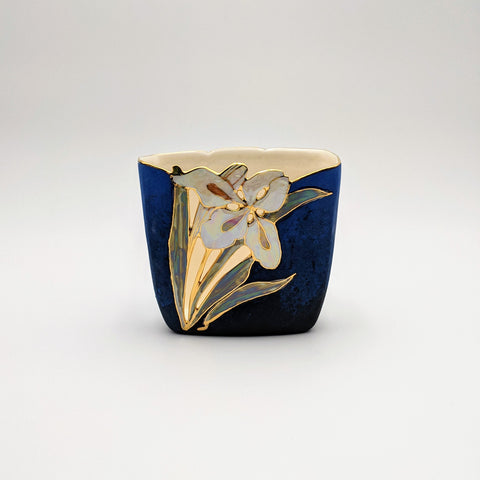 Short Square Vase Blue Velvet