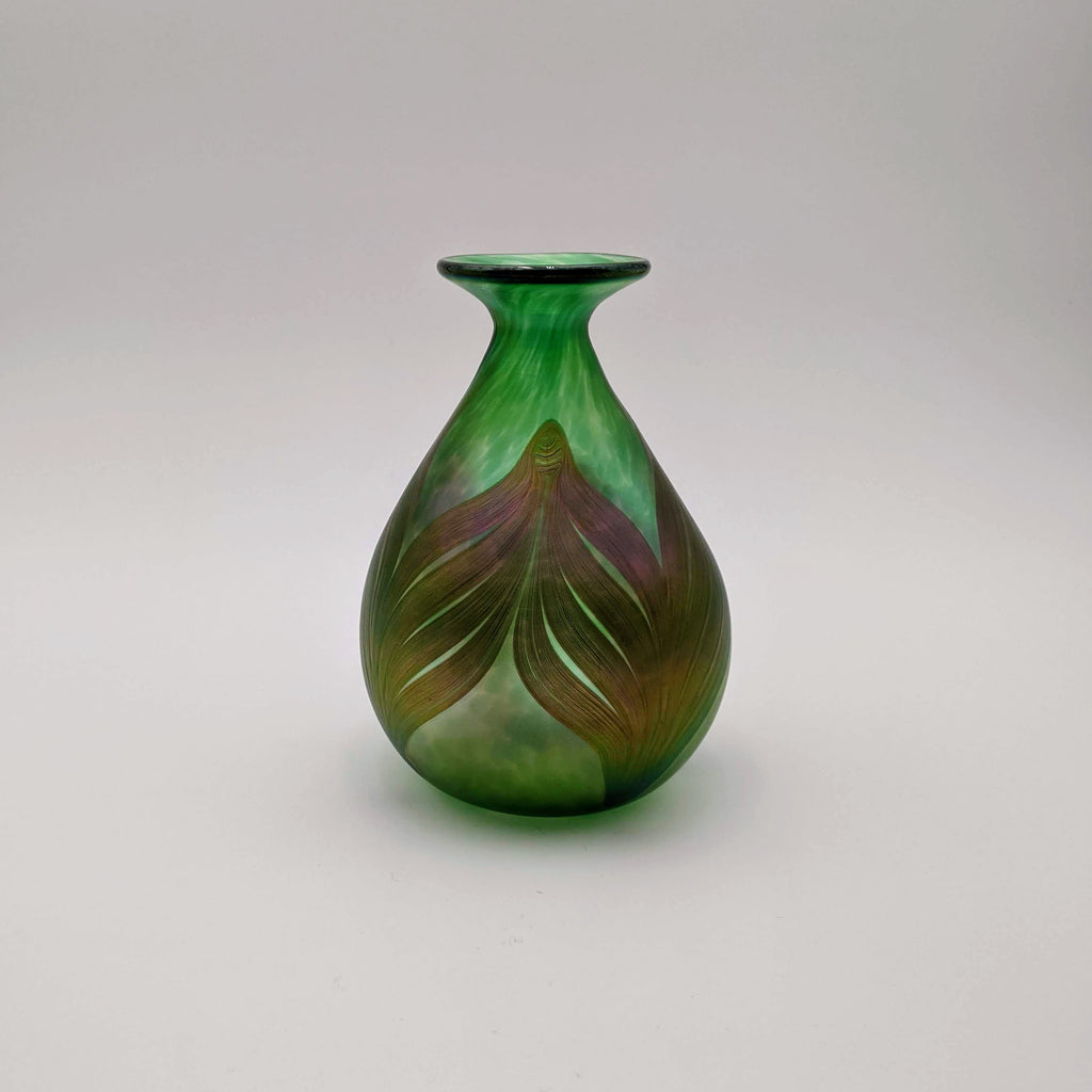 Narrow Neck Vase, Feather/Fume, Green