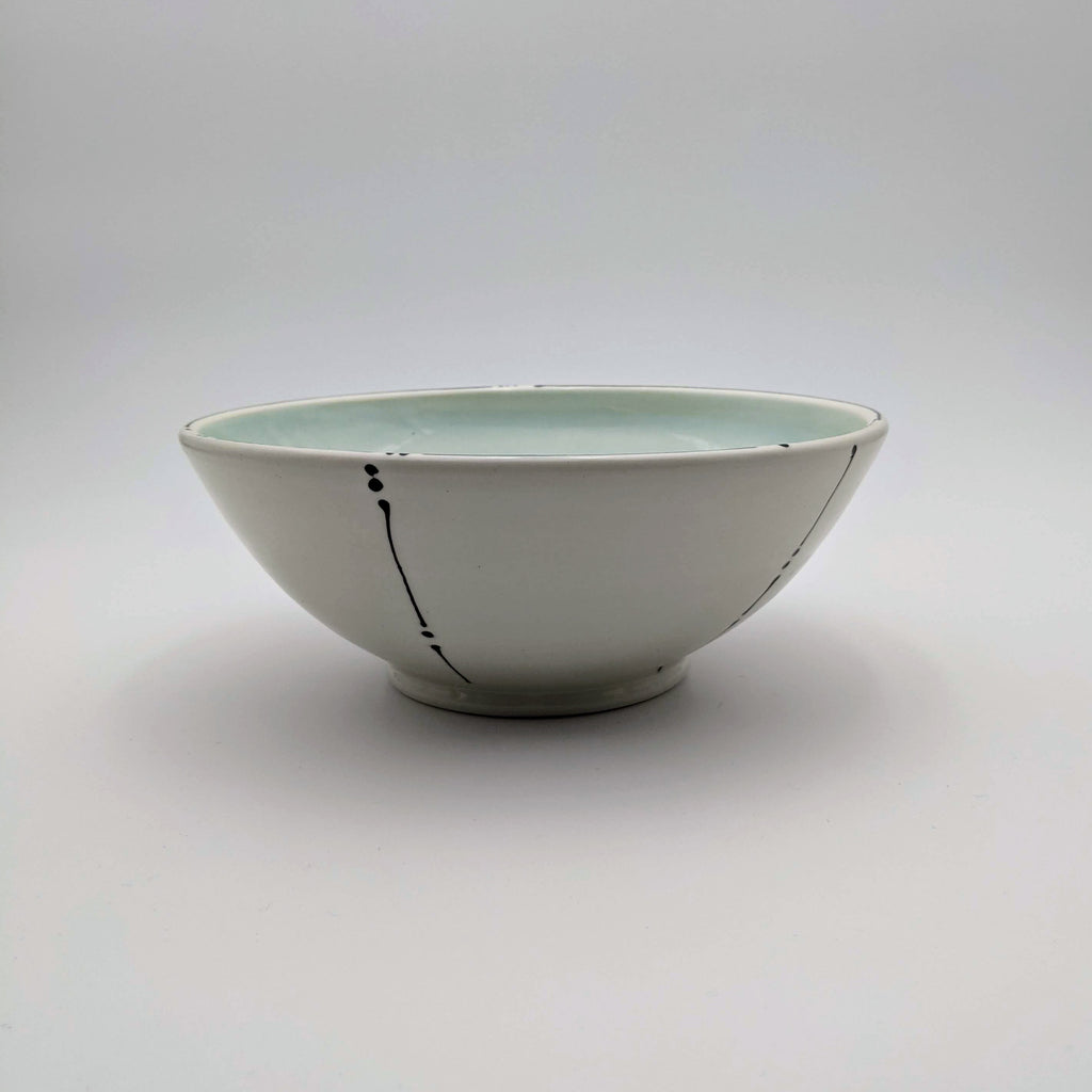 Bowl Aqua Interior Lines and Dots Exterior