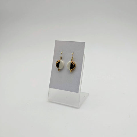 Earring Round White w/ half gold indents