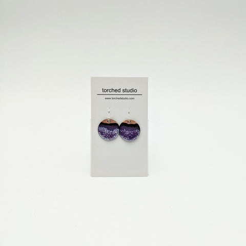 Enamel circle earrings