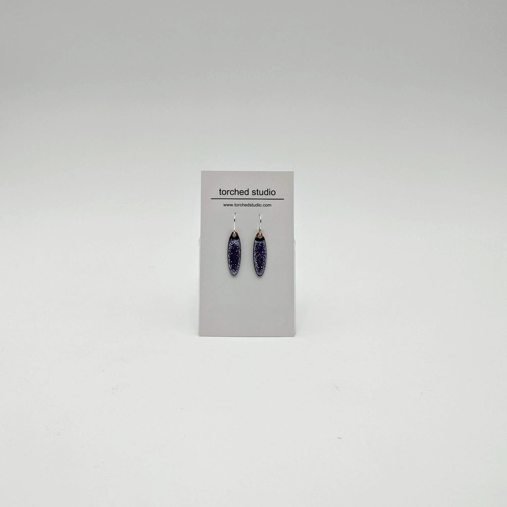 Enamel small oval earrings