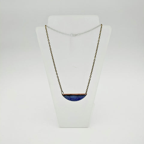 Enamel crescent necklace