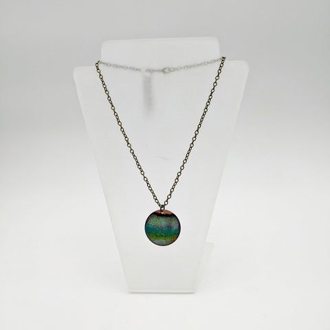 Enamel circle necklace