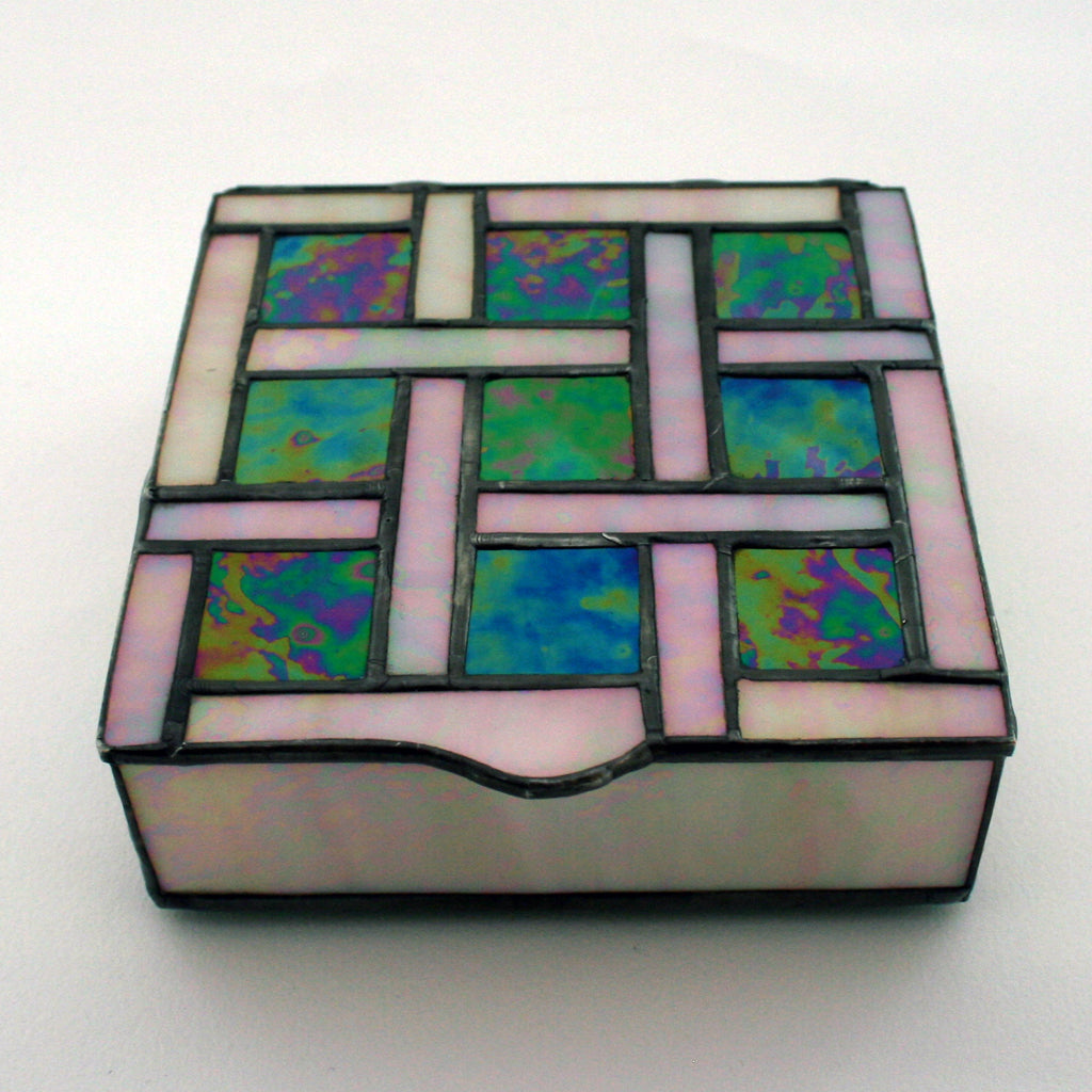 Square Green Glass Box w/tic tac Toe