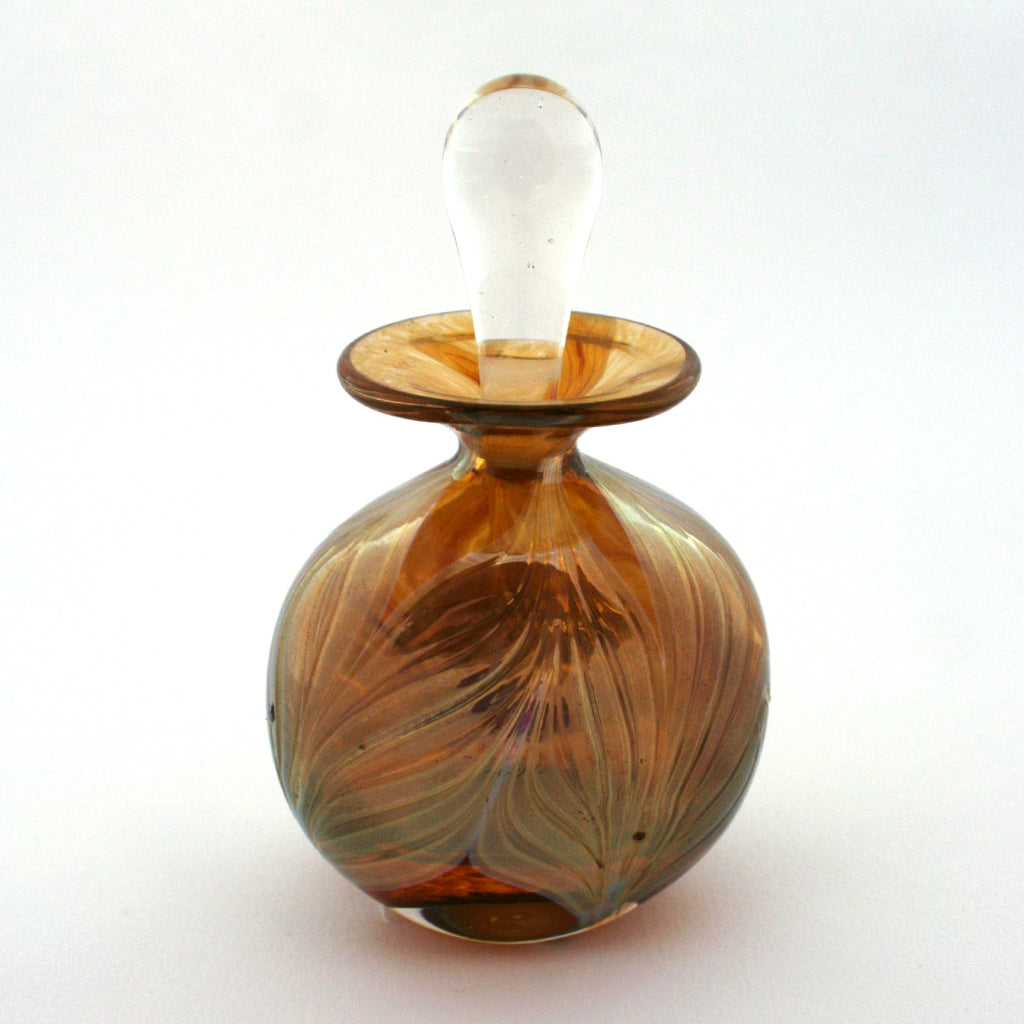 Oval Perfume Bottle-Feather/non-Fume, Amber (1762)
