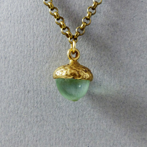 Acorn Necklace, Brass & Crystal (Seafoam)
