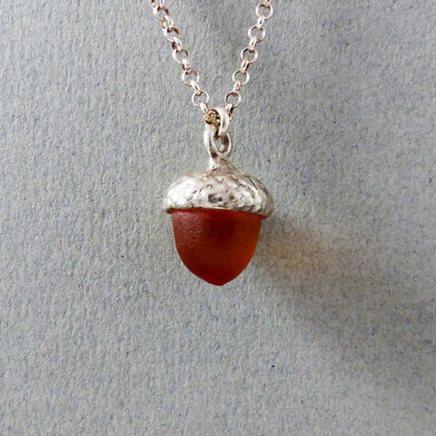 Acorn Necklace, SS & Crystal (Amber)