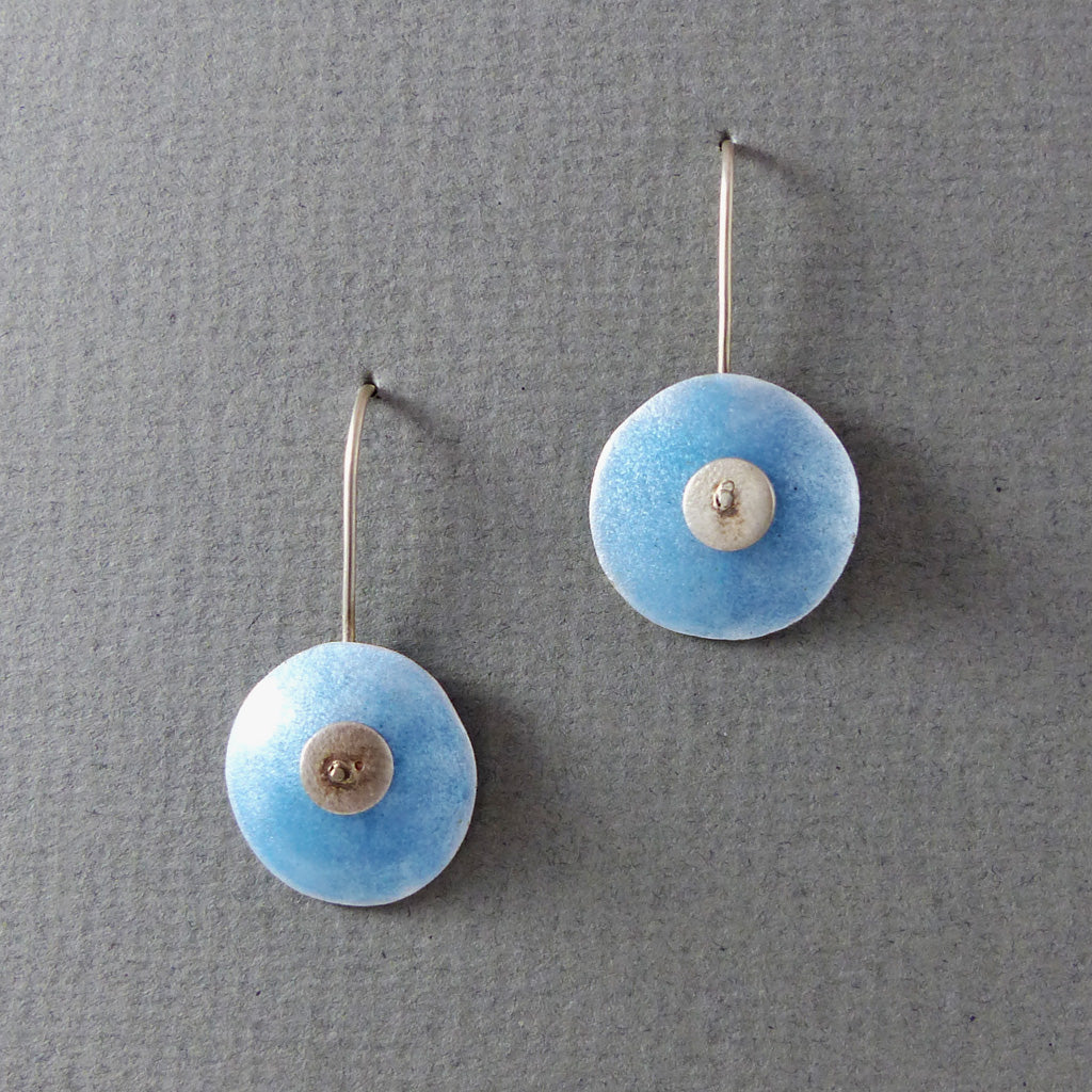 Fine Silver Earrings, Enamel/Powder Blue