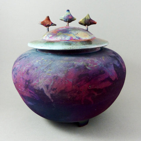 Large Tripod w 3 Birds, Matte Raku, Dark Purple