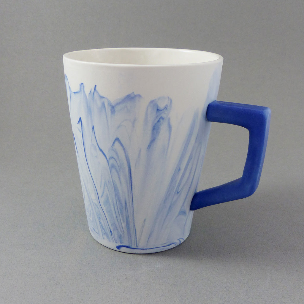 Marbled Coffee Cup, Blue/White
