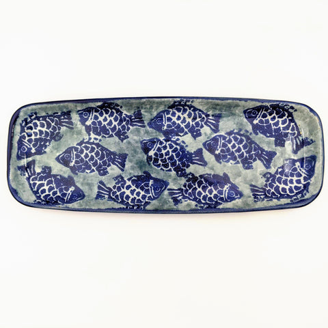 Medium Rectangular Tray Blue Fish