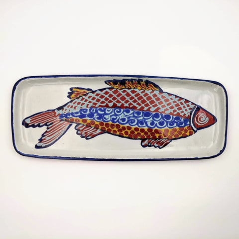 Tray Large rectangle Red Fish