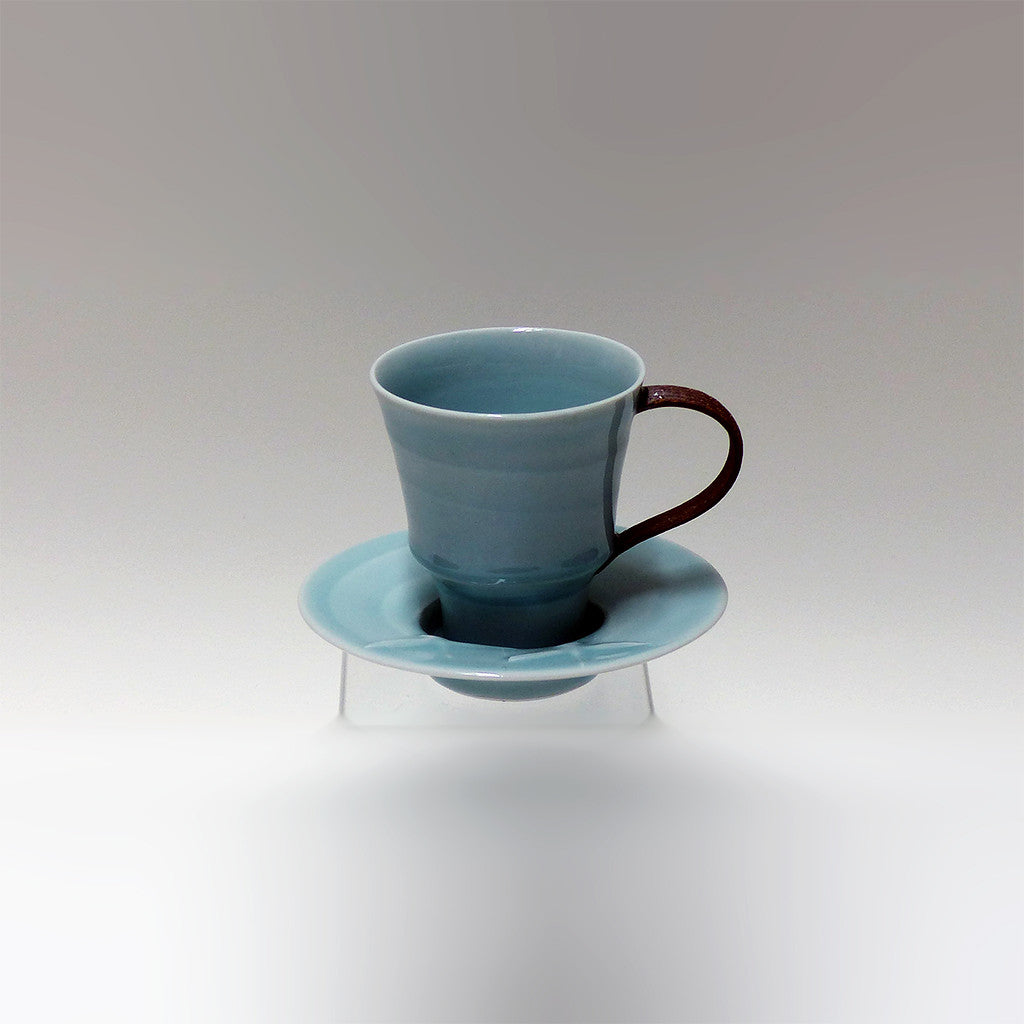 Celadon/Iron Teacup & Saucer with Geese