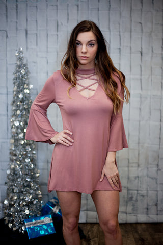 Dusty Pink Bell Sleeve Dress