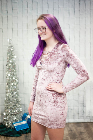 Crushed Velvet Long Sleeve Dress - Rose