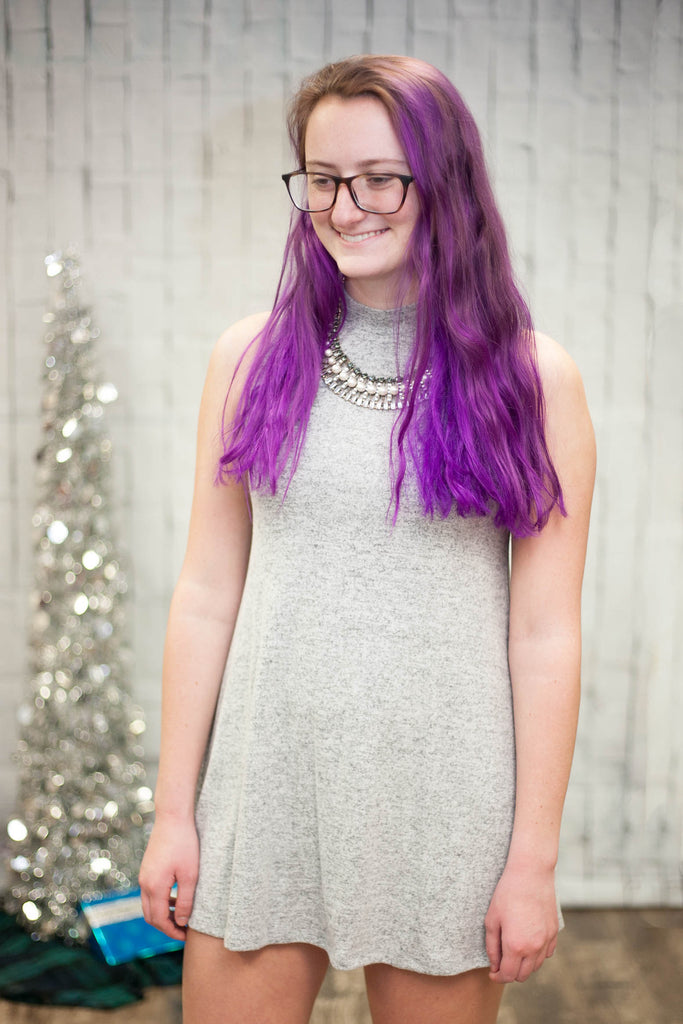 Light Gray High Neck Dress