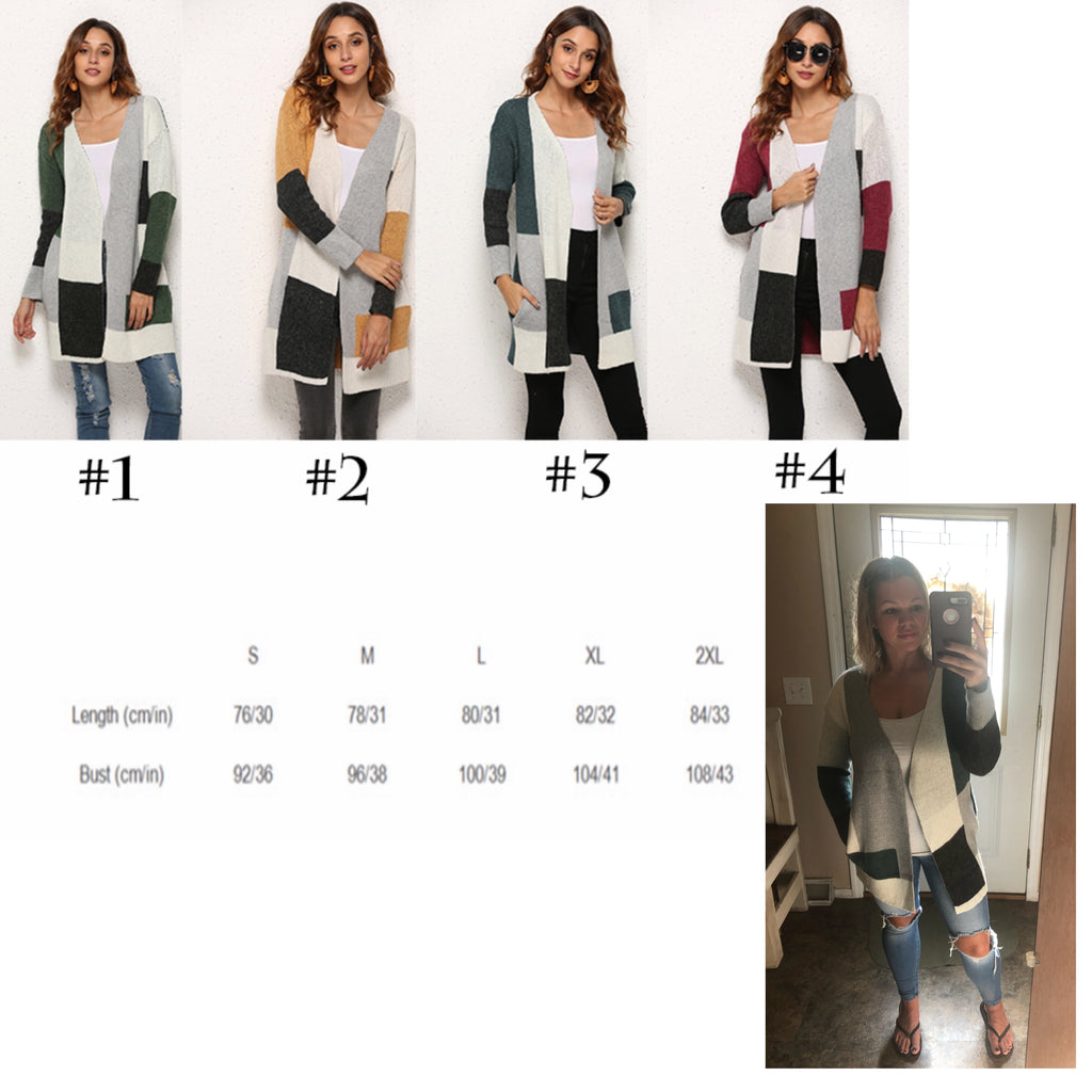 Color Block Cardigans with Pockets