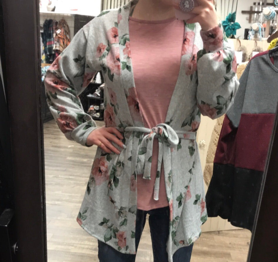 Chic Floral Tie Front Cardigan